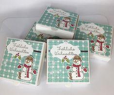 Stempelitis: Mini-Pizzakarton eingefärben und weihnachtlich dekorieren mit Stempelset Seasonal Chums von Stampin' Up!
