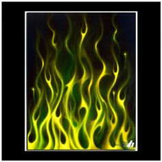 """""""Green Gold"""" is 3rd in the series of four """"airbrush on canvas"""" pieces I'm doing with flames as the subject. Green Gold is a combination of lime pearl, yellow pearl, green candy, and yellow candy. The pearl and candy paints create an amazing image with great depth and perceived movement as you walk by truly bringing the painting alive!"""