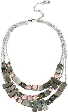 Kenneth Cole Geometric Shell Crystal Multirow Necklace