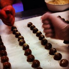 Chocolate & almond nougat fresh cream truffels #chocolate