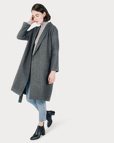 The Belted Wool Shawl Coat - Everlane Coats For Women, Jackets For Women, Clothes For Women, Minimal Fashion, Timeless Fashion, Minimal Style, Stylish Winter Coats, Sustainable Clothing Brands, Sustainable Style
