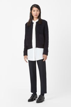 Based on the shape of a bomber jacket, this zip-up cardigan is made from chunky-knit wool with a tactile raised texture. A straight shape, it has ribbed detailing, a zip-up front and two patch pockets. Cropped Cardigan, Wool Cardigan, Cropped Pants, Best Cardigans, Unique Outfits, Fashion Brand, Zip Ups, Knitwear, Bomber Jacket