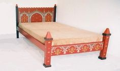 Wm Burges painted stencilled gilded Reformed Gothic Revival double bed and bedroom furniture