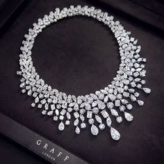 Graff Diamonds: New from the Graff workshop, this eye watering multi shape diamond necklace totalling 164.02 carats of pure joy!