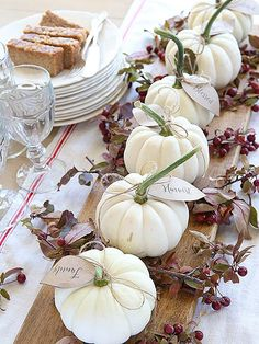 11 Surprisingly Easy Ways to to Make Your Thanksgiving Table Look Fantastic | MINI GOURD CENTERPIECE | Decorate a table runner with small white pumpkins and leaf cutouts adorned with Thanksgivings sayings, then garnish with branches and cranberries.