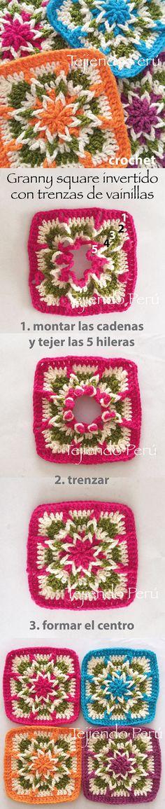 Crochet: granny square invertido!  Se empieza a tejer desde el borde y se termina en el centro formando una linda flor!  Vídeo tutorial del paso a paso :)