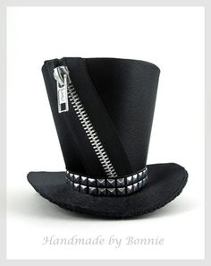 Tiny Top Hat - black satin with zipper and studs - Mini Top Hat