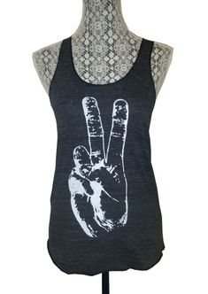 Womens PEACE SIGN Hand Tri Blend Tank Top Alternative Apparel Gray Black S M L XL, $18.00