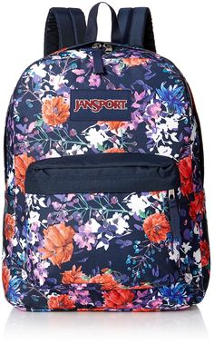 Jansport Superbreak Backpack Morning Bloom (Morning Bloom). Jansport backpack. 2/3 padded back panel. Front utility pocket with organizer. One large main compartment. Web haul handle.