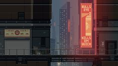 """ Test image, with some touch up, for Badass Inc "" Vaporwave, Arte Cyberpunk, Cyberpunk City, Neon Aesthetic, Aesthetic Anime, Pixel Art Gif, Pixel City, Arte 8 Bits, Casa Anime"