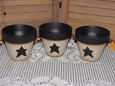 primitive clay pot containers crackle black star farmhouse country home decor