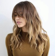 Bronde long hair with bangs and texture