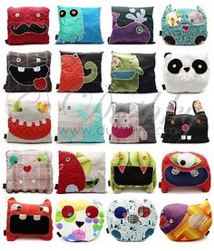 Inspiration for making funky monster pillows. I should make Totoro pillows. Sewing Toys, Sewing Crafts, Sewing Projects, Diy Crafts, Pillow Crafts, Fabric Crafts, Softies, Sewing Pillows, Dog Cushions