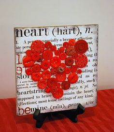 Button Art Heart- share the love year-round with upcycled art.