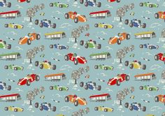 Racing Car | Dating back to SS07, our original racing cars raced over furnishings fabric and were inspired by the illustrations in vintage children's books. Here's our reworked, recoloured AW15 version | Cath Kidston Library Collection AW15