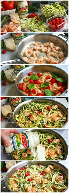 One Pot Low Carb Shrimp Alfredo This easy one pot meal is a combination of shrimp, fresh tomatoes, zucchini noodles, and creamy alfredo sauce. This easy low carb shrimp alfredo recipe only takes minutes to make! If you're looking for a healthy shrimp al Seafood Recipes, New Recipes, Dinner Recipes, Cooking Recipes, Favorite Recipes, Healthy Recipes, Seafood Pasta, Pasta Recipes, Easy Low Carb Recipes