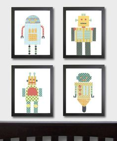 Robot Prints - Set of Four by Just Bunch Designs