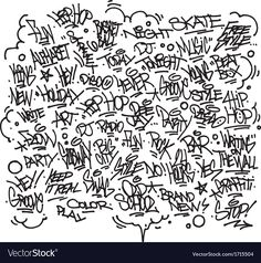 Multiple urban art and graffiti tags slogans vector image on VectorStock Graffiti Doodles, Graffiti Girl, Graffiti Cartoons, Graffiti Drawing, Street Art Graffiti, Graffiti Lettering Alphabet, Graffiti Font, Graffiti Tagging, Graffiti Designs