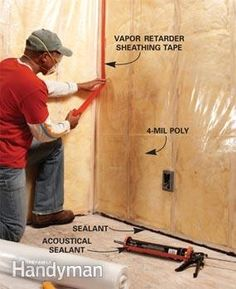 Seal batts with 4-mil poly, tape and acoustical sealant.
