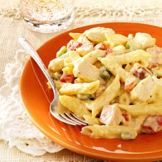 Chicken and Sausage Penne Recipe -Gather the family for a comfy-cozy dinner filled with two types of meat and a garlic-cream sauce. It's versatile, too. Sub in whatever cream soup and cheese you have on hand. —Sandra Perrin, New Iberia, Louisiana