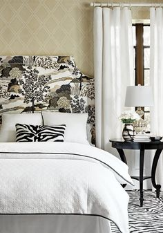 Ridgewood Headboard from Thibaut Fine Furniture in Daintree printed fabric in Grey from Greenwood Black White Bedrooms, Grey Room, Bedroom Styles, Bedroom Ideas, Queen, Beautiful Bedrooms, Interior Design Inspiration, Headboard Designs, Headboard Ideas