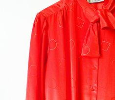 Shimmery Red Blouse with Tie Neck / Geometric Shapes Retro Button Up Blouse