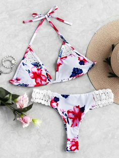 Calico Print Crochet Insert Triangle Bikini Set