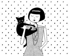 The cat's meow // black and white cat lover art print