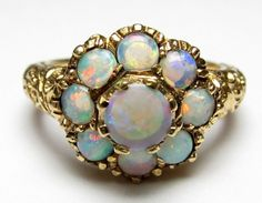 Estate $2100 14K Yellow Gold 9 Natural Colorful Opal Carved Curl Ring 1.15 Cts #SolitairewithAccents