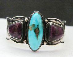 Beautiful turquoise and sugalite cuff bracelet