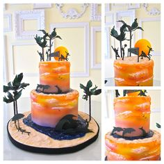 Radiant summer evening sunset along the beach, artfully crafted by talented cake artist Lindsey Sinatra, owner of A Wish and a Whisk in Costa Mesa, California....