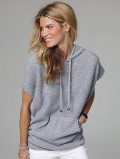 100% Cashmere Crew Neck Hooded Sweater-Cashmere 1873.COM