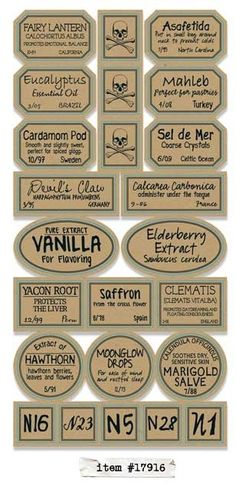 Apothecary Labels - Chemistry - Another! Halloween Potion Bottles, Halloween Apothecary, Halloween Labels, Holidays Halloween, Halloween Crafts, Halloween 2020, Imprimibles Halloween, Minis, Etiquette Vintage