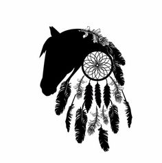 Horse Silhouette & Dream Catcher Outline Black White Feathers Tattoo design @shontishar