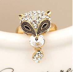 Lovely Crystal Fox Alloy With Gold Plated Women's Ring