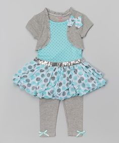 Look what I found on #zulily! Aqua & Turquoise Layered Dress & Leggings - Toddler #zulilyfinds