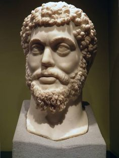 The head of the colossal marble statue of Marcus Aurelius found at the Sagalassos Roman Baths complex in 2008, Burdur Museum