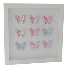 Butterfly shadow box w/ scrapbook paper in pink and blue