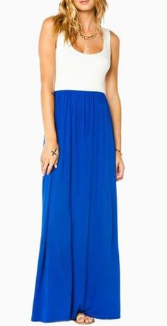 Erin Maxi Dress in Royal and White