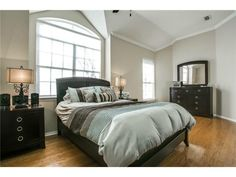 Blue and brown master bedroom