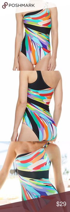 Trina TurkPrisma One-shoulder Bathing Suit size 6 Trina Turk Multi Color Printed One-Shoulder Swimsuit size 6 Fits well size 4-6 Worn a bit but still in great shape Very Flattering  Trina Turk one-piece swimsuit  One-shoulder neckline with silver ring. Classic silhouette. Open back on the top, full coverage of torso back and front Full seat coverage. Nylon/spandex; hand wash. Trina TurkPrisma One-shoulder Bathing Suit size 6 Trina Turk Swim