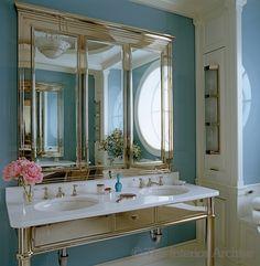 A bespoke vanity and medicine cabinet by Diamond Baratta Design in the bathroom