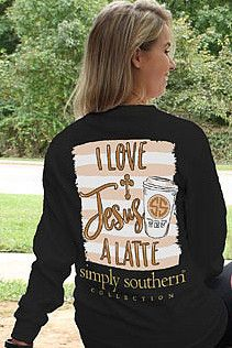 Simply Southern Love Jesus Alatte - Black from Chocolate Shoe Boutique Country Girls Outfits, Cute Teen Outfits, Teenage Girl Outfits, Casual Summer Outfits, Outfits For Teens, Stylish Outfits, School Outfits, Fall Outfits, Simply Southern Shirts