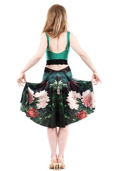 luxury handmade tango clothes | www.poemaclothing.com | the signature skirt in underwater peony