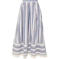 Gül Hürgel Lace-trimmed striped cotton and linen-blend skirt ($520) ❤ liked on Polyvore featuring skirts, scallop edge skirt, lace trim skirt, striped skirts, stripe skirts and a-line skirt