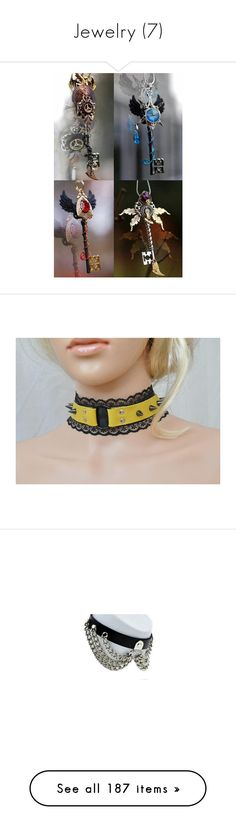 """Jewelry (7)"" by lulu-dusk on Polyvore featuring jewelry, necklaces, bdsm, black and yellow o ring collar, ddlg, gothic lolita collar, leather lace bondage collar, leather choker necklaces, studded choker and choker necklaces"