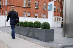K West Hotel & Spa, London - Pedestrian Barrier Granite Street Planters Spa London, Stone Planters, Pedestrian, Container Plants, Hotel Spa, Outdoor Spaces, Natural Stones, Granite, Entrance