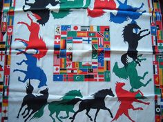 Vintage Equestrian Horse Print  Scarf features International Flags 34 x 34 L@@K #Unknown #Scarf