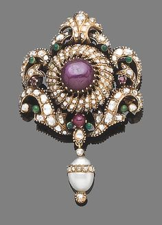 An early 20th century ruby, enamel, cultured pearl and diamond brooch/pendant  The openwork cartouche, centrally-set with a cabochon star ruby, within a rose-cut diamond, cabochon and circular-cut ruby and green enamel surround, suspending a later cultured pearl drop encircled with similarly-cut diamonds, later pin fitting, length 6.7cm.