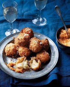 Crispy on the outside and smooth and creamy on the inside – these crab croquetas can be enjoyed tapas style, or as a decadent start to a dinner part. With Romesco Sauce Tapas Recipes, Sauce Recipes, Seafood Recipes, Spanish Recipes, Tapas Ideas, Cheese Recipes, Appetizer Recipes, A Food, Smoker Cooking
